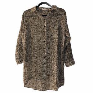 MNG / MANGO Cheetah Print Button Blouse Sz Small